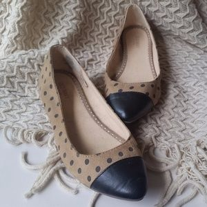 Tan and Black Polka Dot Flats Size 8