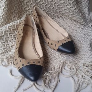 Old Navy Shoes - Tan and Black Polka Dot Flats Size 8