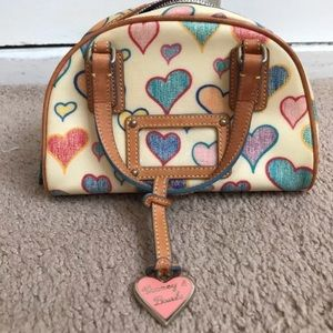 Vintage Rooney& Bourke small beige heart print bag