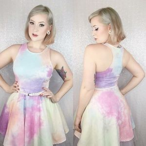 Watercolor Sleeveless Fit n Flare Retro Dress