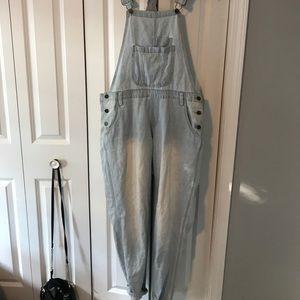 Light wash denim overalls