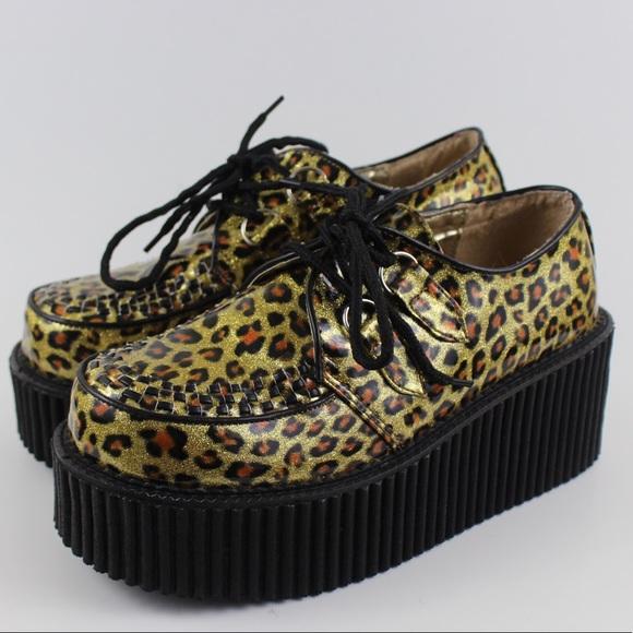 b19e439bb35 Demonia Shoes - Demonia CREEPER 208 Cheetah Gold Glitter Platform