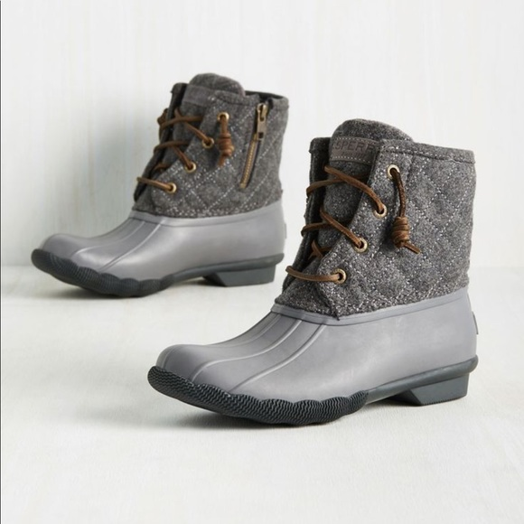 Sperry Gray Wool Duck Boots