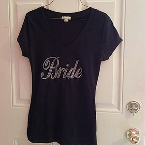 Tops - Black bling bride tee