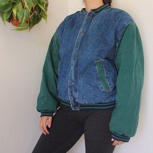 Vintage Denim Varsity Bomber Jacket