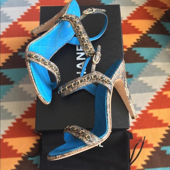 664f6928b22d Chanel Fantasy Python Leather CC Chain Sandals
