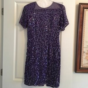 Vintage Purple Sequin Cocktail Dress