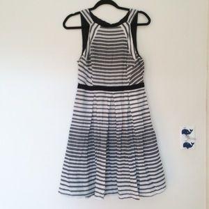 Eva Franco Fit & Flare Stripe Cutout Dress