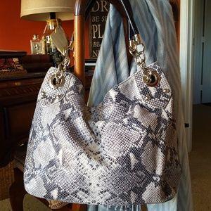 Cynthia Rowley genuine leather snake print satchel