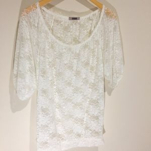 White Stretch Lace Blouse lacy shirt see through