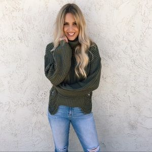 Cotton Candy LA Turtle Neck Sweater in Olive Green