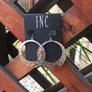 INC International hammered faux silver earrings