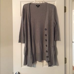 Gray, long grandpa cardigan