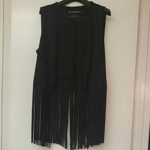 Blanknyc BLACK fringe vest