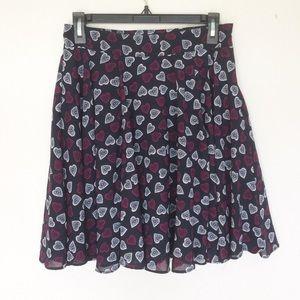 Maison Jules Blue Heart Print Flare Skirt