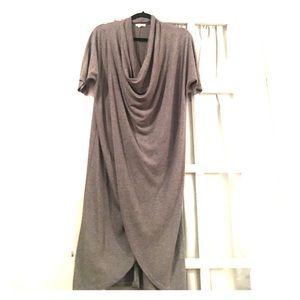Cowl neck wrap dress
