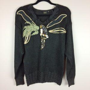 Vintage sequin parrot black sweater
