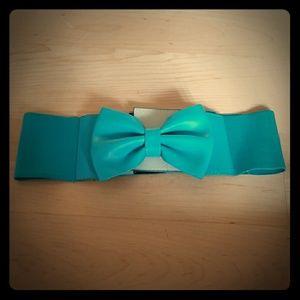 Blue Bow Waist Velcro Belt