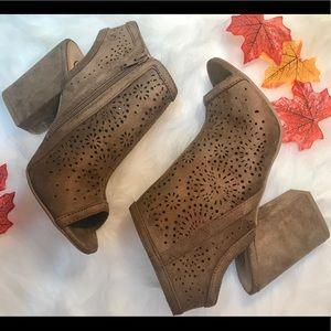 Shoes - 6 & 9 left! Dark Tan Back Cutout  Open Toe Booties