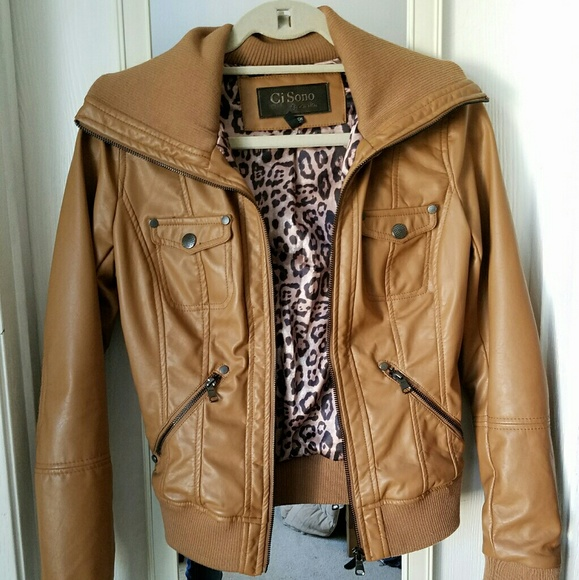 98c80a990 Camel Faux Leather Bomber Jacket Tan Jacket