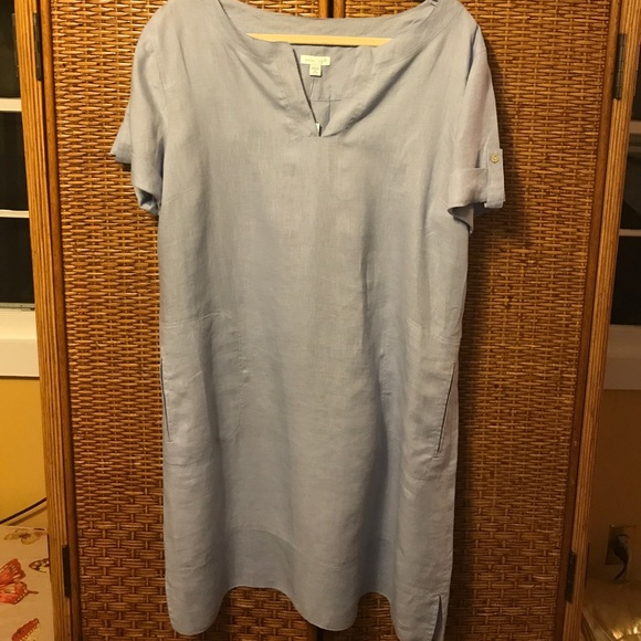 a331d1e86ad J.Jill Lt blue chambray S S linen dress petite XL