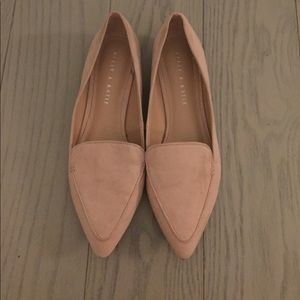 Blush suede loafers/flats