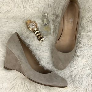 J crew nude suede wedges sz 10 shoes made in Italy