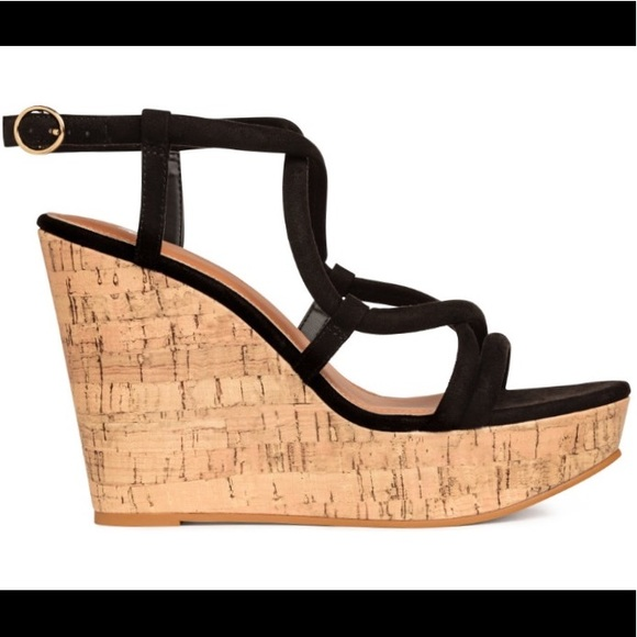 0a89c60c28 H&M Shoes | Hm Strappy Cork Wedge Sandals 6 Nwt | Poshmark