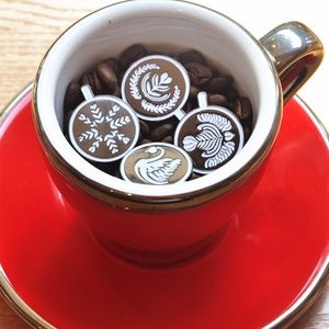 Jewelry - Set of 4 Coffee Latte Art Enamel Lapel Pins