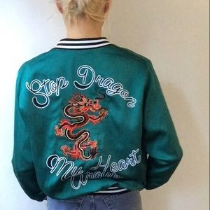 Nwot lF Dragon Asia emerald bomber satin jacket S