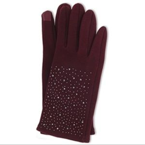Burgundy Fleece Texting Gloves