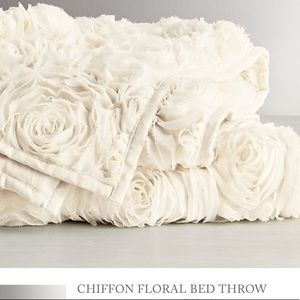 RH Chiffon Bed Throw and Pillow
