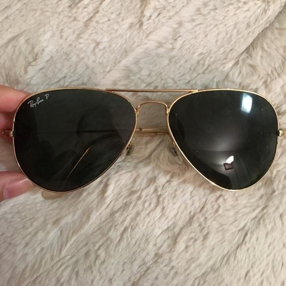 530adabf3b036 Genuine ray-ban Black gold aviator sunglasses. M 59dc0b9e4225be38250035bb