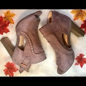 Shoes - Last two🌟Peep Toe Faux Suede Heel Bootie