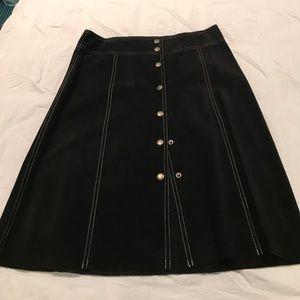 Theory Black Sued Skirt
