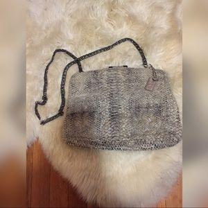 Zara clutch chain silver snake skin clasp bag