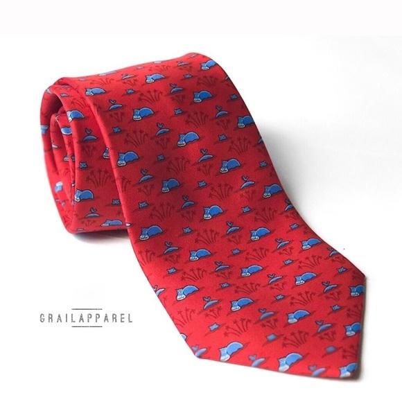 fba2a1bae774 Hermes Accessories   Red Blue Hippo Print Silk Tie   Poshmark