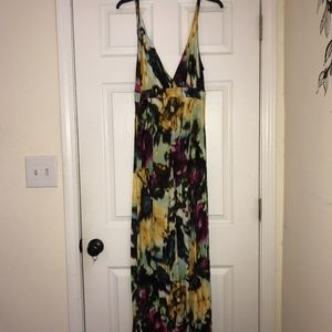 Watercolor Deep V backless maxi dress