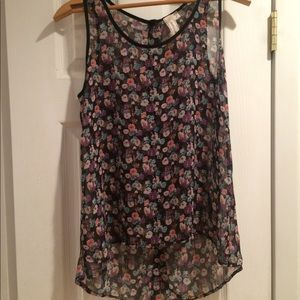 Sheer tank with flower print