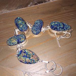 Jewelry - NWOT Faux Titanium Druzy Bracelet – Blue WB3855