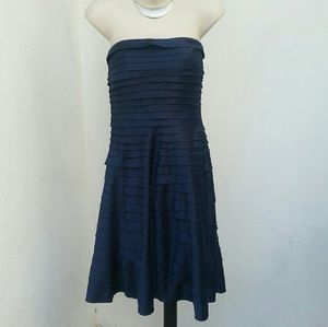 Navy blue strapless formal dress