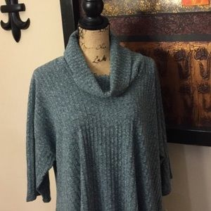 Plus Size Sonoma Ribbed Cowlneck Seeater