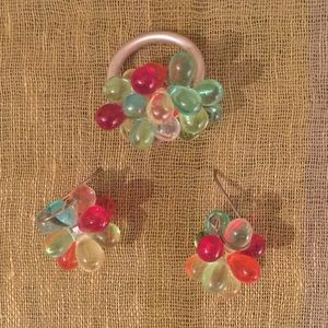 Whimsical Ring and Earring Set. Little Bubbles