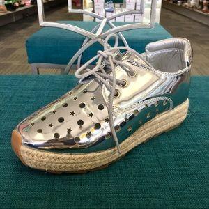 Shoes - Silver espadrille platform sneaker