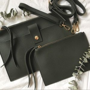 NWT Olive Green Soft Vegan Leather Crossbody Bag