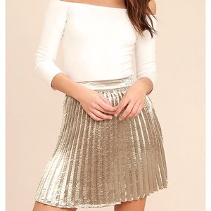 Lulu's swing era champagne mini skirt