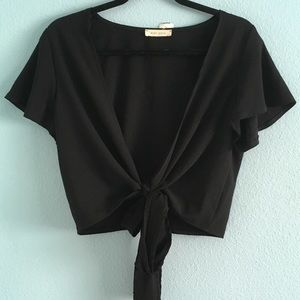 Black wrap around front tie crop top