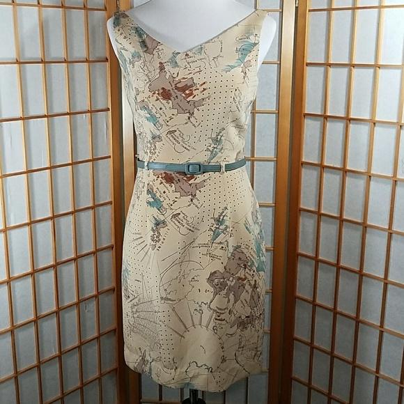 David Meister, tan 100% silk vintage map dress on