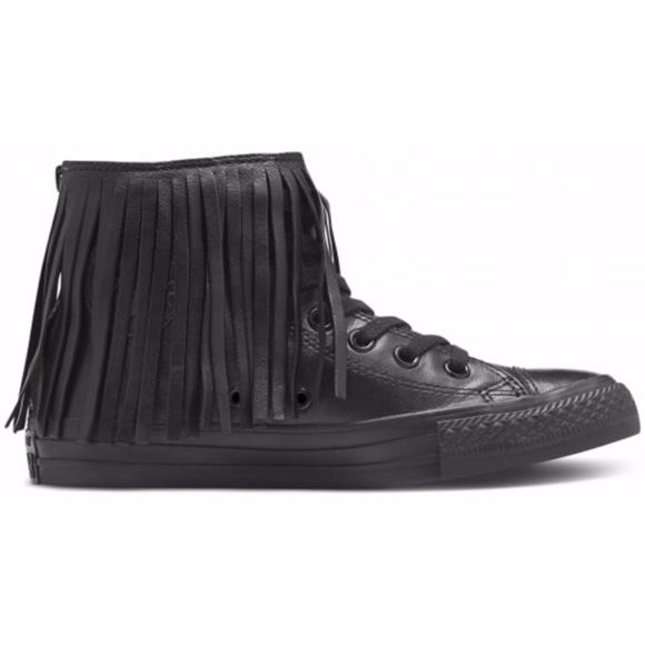 8d94ce8528088e ... shop converse black leather all star fringe sneaker 7 8 d0008 8e025