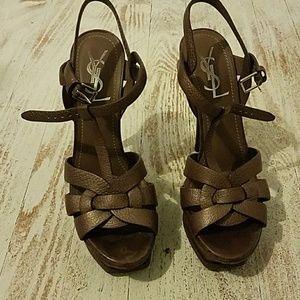 YSL tribute t-strap  platform sandal